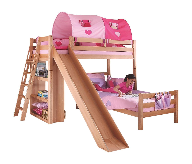 Relita BE3101114-B90+TX5082032 Etagenbett SKY, Maße 230 x 160 x 240 cm, Liegefläche 90 x 200 cm, Buche massiv natur lackiert, mit Tunnel rosa herz günstig kaufen