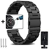 Gear S3 Frontier/Classic Metal Bands + Gear S3 Tempered Glass, OTOPO 22mm Solid Stainless Steel Watch Strap Replacement Bracelet for Samsung Gear S3 Frontier/Gear S3 Classic Smartwatch (Black, 22mm) (Color: Black Metal Bands for Gear S3, Tamaño: 22mm (Gear S3))