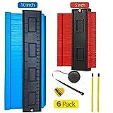 TaoHorse Plastic Contour Gauge Shape Duplicator, Professional Cuts for Trim and Tile, 6pcs DIY Tool Kit, 10 Inch Blue & 5 Inch Red Standard Gauges + 2pcs Pencils + Pencil Sharpener + Measure Ruler