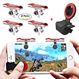 [4 Triggers+1 Joystick] PUBG Mobile Controller, Papakoyal Mobile Game Controller Cellphone Game Trigger Sensitive Shoot and Aim Keys L1R1 Mobile Trigger Joystick for PUBG/Fortnite/Rules of Survival (Color: Red)