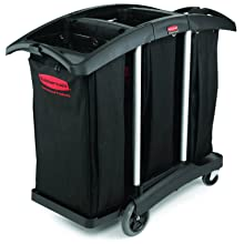 Rubbermaid Commercial FG9T9200BLA Triple Capacity Cleaning Aluminum Service Cart, Black