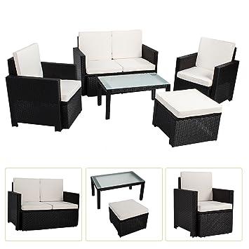Polyrattan Sitzgruppe / Lounge Samos fur 4 Personen 5 teilig in schwarz