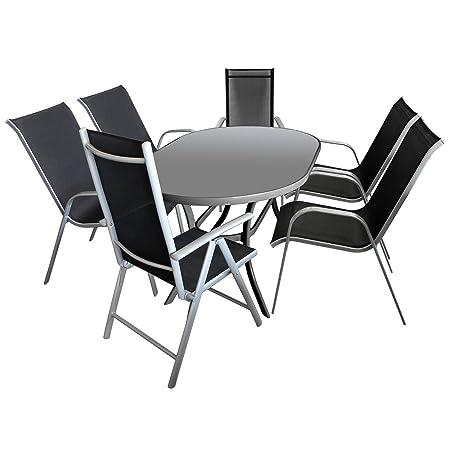 7tlg. Gartengarnitur Glastisch 140x90cm oval + 4x Stapelstuhl + 2x Hochlehner 7-Positionen verstellbar Aluminium Textilenbespannung Sitzgarnitur Gartenmöbel Terrassenmöbel Set Sitzgruppe