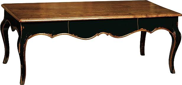 Tavolino rettangolare nera 1cassetto piedi galbés