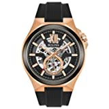Bulova Men's Automatic Stainless Steel and Silicone Casual Watch, Color:Black (Model: 98A177)