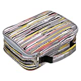 BTSKY New High Capacity Zipper Pens Pencil Case with Pattern-Multi-Functional Stationery Pencil Pouch 36 Large Stretchy Slots for 72 Colored Pencils(Stripe) (Color: Stripe)