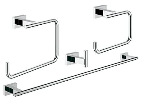 Essentials Cube Master Bathroom Accessories Set 4-in-1 in GROHE StarLight® Chrome