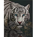 Dimensions White Tiger Counted Cross Stitch Kit, 14 Count Black Aida, 11'' x 14'' (Color: Black)