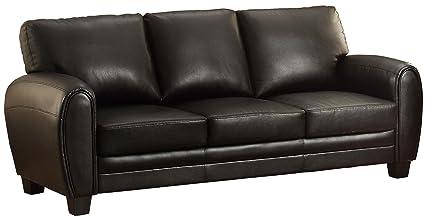Homelegance 9734BK-3 Upholstered Sofa, Black Bonded Leather Match
