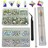 Queenme K9 Glass Crystal AB Nail Rhinestones 4500pcs+144pcs Small Flatback Crystals Mix Sizes Gems Stones Decorations Set, Especially for Nails Design (Color: AB, 144pcs K9 Crystals+4500pcs Round Rhinestones)