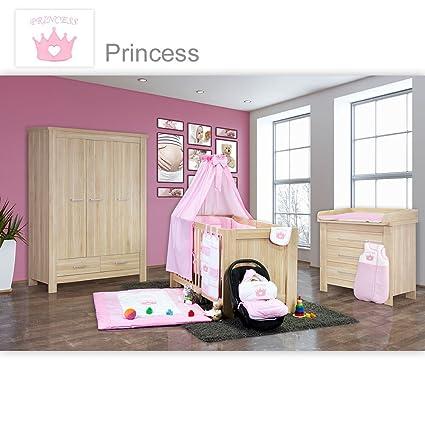 Babyzimmer Enni 21-tlg. in der Farbe Eiche mit 3 turigem Kl. + Textilien Princess, Rosa