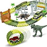 AUUGUU Dinosaur Race Car Track Train Toys, Perfect Birthday for 3 4 5 6 7 Year Old Boys Kids, Jurassic World Dinosaur Park Playset with 142 Pieces Tracks, 2 Dinosaurs and 2 Vehicle