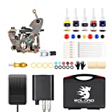 Solong Complete Tattoo Kit 1Pro Coil Machine Gun Set Professional Tattoo Starter Kit 5 Inks Power Supply and Carry Case TK106 (Color: Gold)