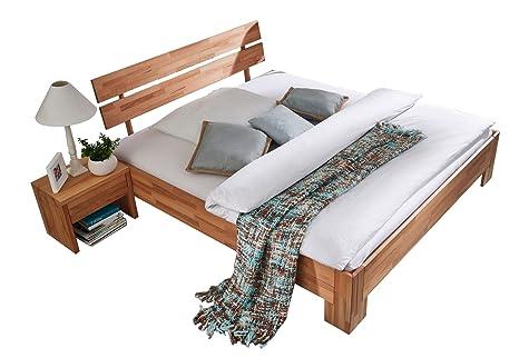 XXS® Holzbett Pesto Bett aus geölter massiver Kernbuche 140 x 200 cm mit geteiltem Kopfteil