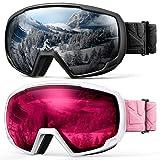 OutdoorMaster Kids OTG Ski Goggles - 2-Pack Over Glasses Kids Ski Goggles, 100% 400UV Protection - for Kids & Youth - Black/Grey (VLT 10%) + White/Pink (VLT 46%) (Color: Black/Grey (VLT 10%) + White/Pink (VLT 46%))