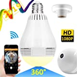 WiFi IP Camera LED Bulb Camera Wireless Hidden Camera 360 Degree Panoramic 1080P HD Fisheye for IOS Android APP Remote Home Security System for Indoor Outdoor House Baby Room Pet Office School (Color: a.360°Home pet monitor(2019 new))