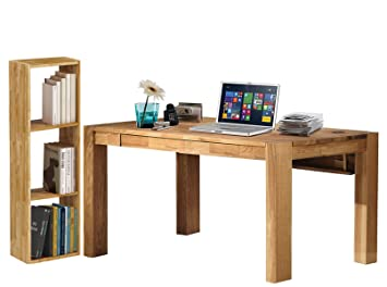 Schreibtisch-Set Computertisch Burotisch GIORGIA 170x75cm 1 Regal Eiche massiv geölt