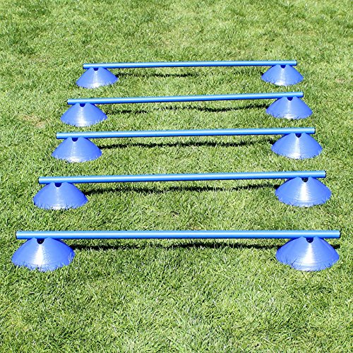 Artikelbild: Mini-Hürden, 5er Set, mit blauen Markiermulden und Stangen 100 cm, für Agility - Hundetraining (blau)
