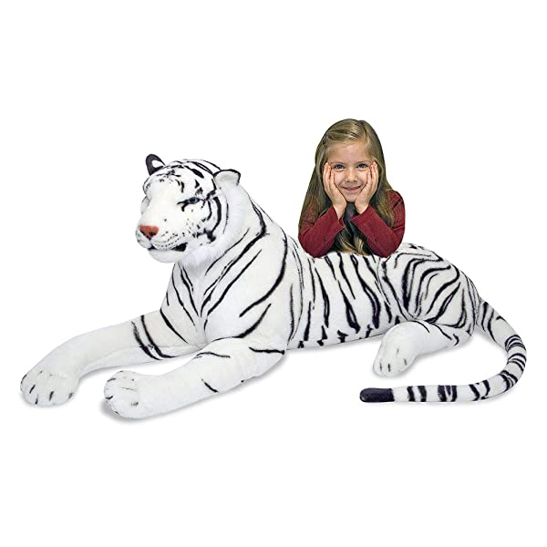 Melissa & Doug White Tiger Giant Stuffed Animal (Wildlife, Soft Fabric, Beautiful Tiger Markings, 20 H x 65 L x 20 W, Great Gift for Girls and Boys - Best for 3, 4, 5 Year Olds and Up) (Color: White, Tamaño: Giant)