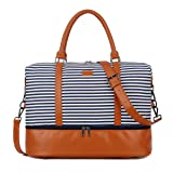 BAOSHA HB-28 Ladies Women Canvas Travel Weekender Overnight Carry-on Shoulder Duffel Tote Bag With PU Leather Strap (Blue Strips with Shoe Compartment) (Color: Blue Strips with Shoe Compartment, Tamaño: 16 x 12 x 8 inch)