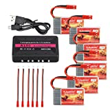 FLOUREON 6PCs 3.7V 750mAh 30C Drone Lipo Battery with JST Plug with X6 Charger for MJX X400 X400W X800 X300C Sky Viper S670 V950hd V950str HS200W