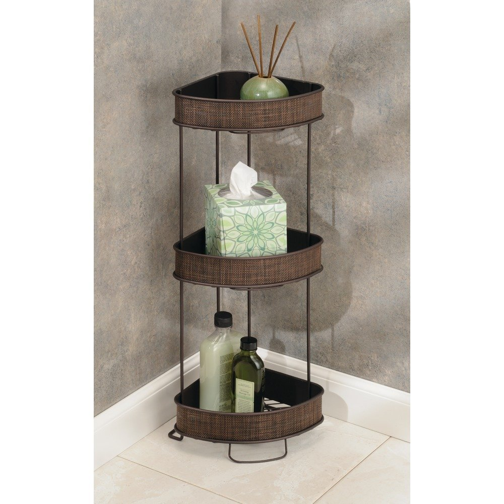 InterDesign Twillo Free Standing Bathroom Corner Storage Shelves for Towels, Soap, Candles, Tissues, Lotion, Accessories - 3 Tier, Bronze