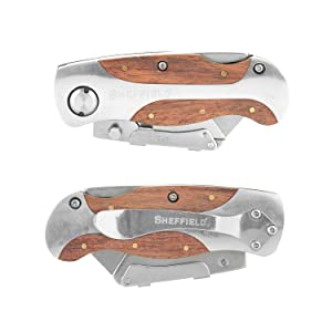 Sheffield 12115 Premium Folding Lock-Back Utility Knife (Color: Stainless/Wood, Tamaño: Pack of 1)
