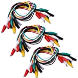SIENOC 30 Pcs Meter Colored Insulating Alligator Croc Clip Electrical Jumper Test Lead Cable (Tamaño: 3 packs)