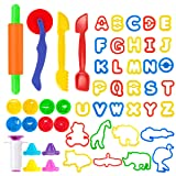Pandapia 52 PCS Play Dough doh Tools Playsets Animal Molds Letter Alphabet Cutters Party Pack for Toddler Preschool Toys Classroom Carnival Prizes (Color: multicolored)