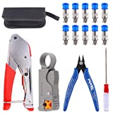 Glarks Coax Cable Crimper Tool Kit, RG6 RG59 Coaxial Compression Crimping Tool Double Blades Cable Stripper and Wire Cable Cutter with 10pcs F Compression Connector for Cable TV Video Audio