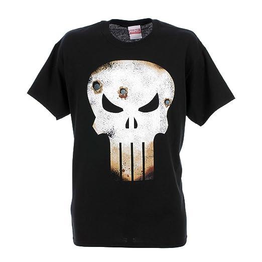 Titan Merchandise - Marvel T-Shirt The Punisher Skull Logo Battle Damaged (L)