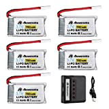 Powerextra 5 Pcs 750mAh LIPO Battery with 5 Port Battery Charger for Beginners X708W Wi-Fi Fpv Training Quadcopter MJX X200,Syma X5,X5SW,X5A,F5C,X5C-1,X5SC,X5C Battery