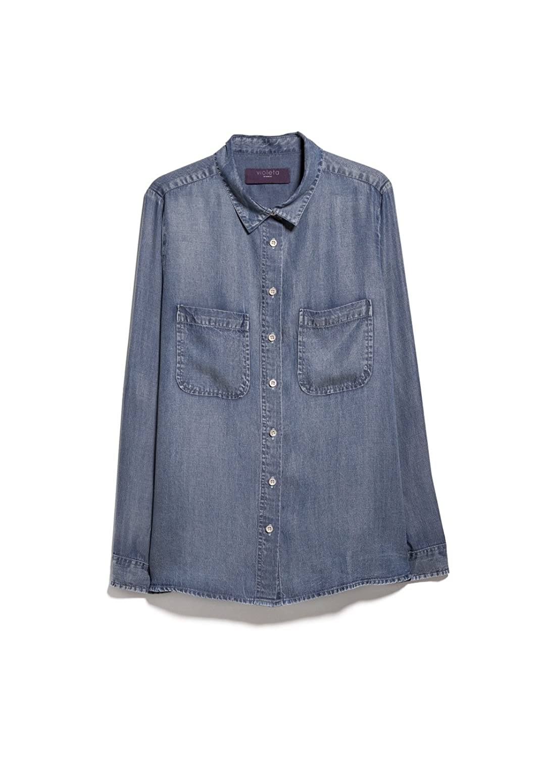 Violeta By Mango Women's Light Denim Shirt violeta by mango women s lapel knit jacket