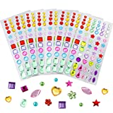 JPSOR 8 Sheets 544pcs Self-Adhesive Rhinestone Sticker Bling Craft Jewels Crystal Gem Stickers, Assorted Size (Color: Multicolor 1)