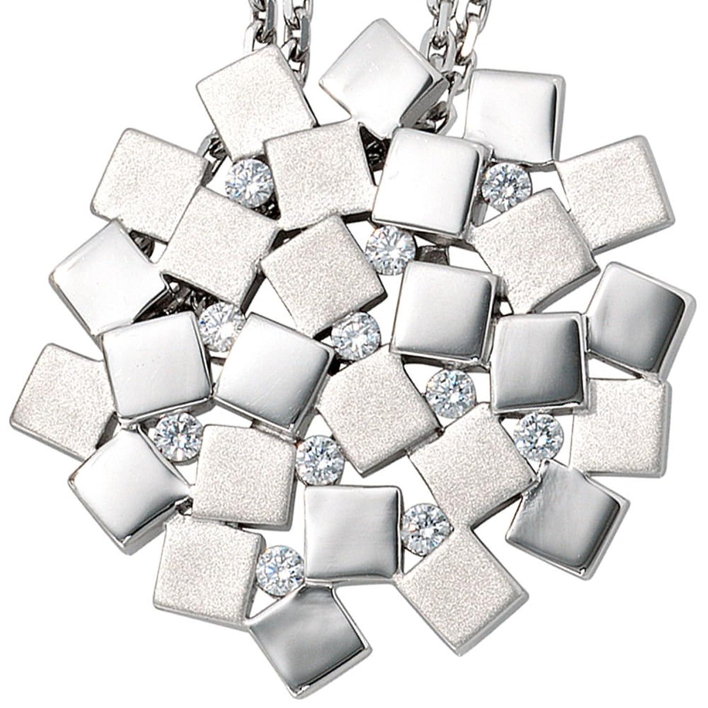 Damen Silber Anhänger aus 925 Sterling Silber rhodiniert teilmattiert 11 Zirkonia als Weihnachtsgeschenk kaufen