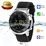 Bluetooth Smart Watch Waterproof Smartwatch Sports Smart Watches for Men Women Boys Kids Android IOS iphone Samsung Huawei LG BLU ASUS Motorola ZTE with Pedometer Fitness Tracker SMS Call Reminder (Color: Silver leather)