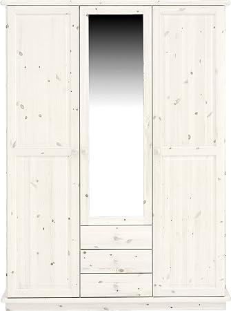 Steens 25230813 Kleiderschrank Romo 208 x 156 x 60 cm Kiefer massive, white wash mit Spiegeltur