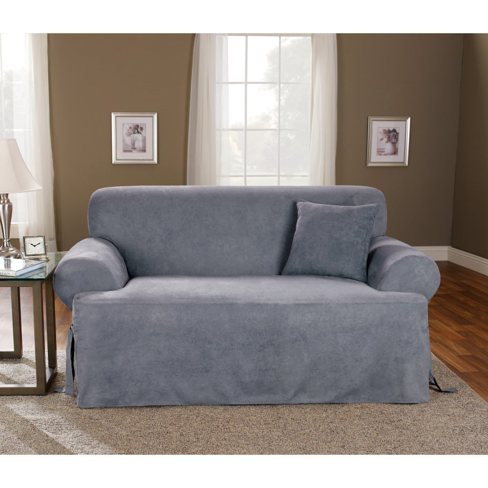 Home sofa couch slipcover covers suede decor blue smoke for Sofa arm covers blue