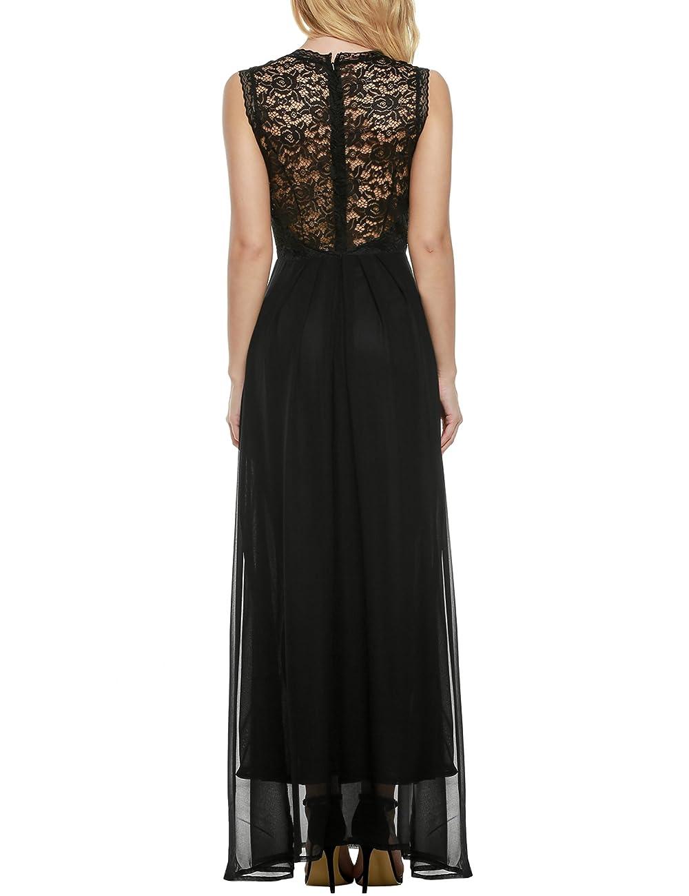 ANGVNS Women's Casual Deep- V Neck Sleeveless Vintage Maxi Dress 2