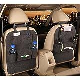 M'Baby 1pc Seat Back Car Organizer Woolen Felt Seat Back Kick Protectors for Kids, Storage Bottles, Tissue Box, Toys (Dark Grey) (Color: Dark Grey, Tamaño: One size)