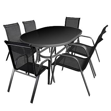 7tlg Balkonmöbel Set Gartengarnitur Sitzgruppe Aluminium Glastisch schwarze Tischglasplatte 140x90cm Gartenstuhl Stapelstuhl pulverbeschichtet mit Textilenbespannung Sitzgarnitur Terrassenmöbel