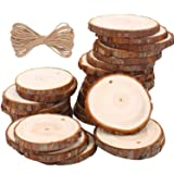 Natural Wood Slices Craft Wood kit Unfinished Predrilled with Hole Wooden Circles for Arts and Crafts Christmas Ornaments DIY Crafts (30pcs 2.4