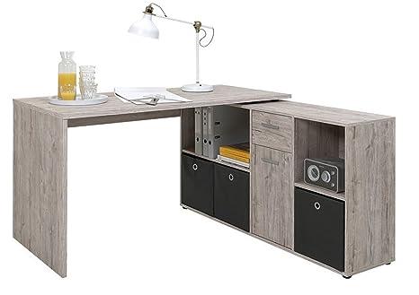 Bureau angulaire réversible en bois coloris chêne sable - Dim : L 136 x H 66,5 x P 74 cm - PEGANE -