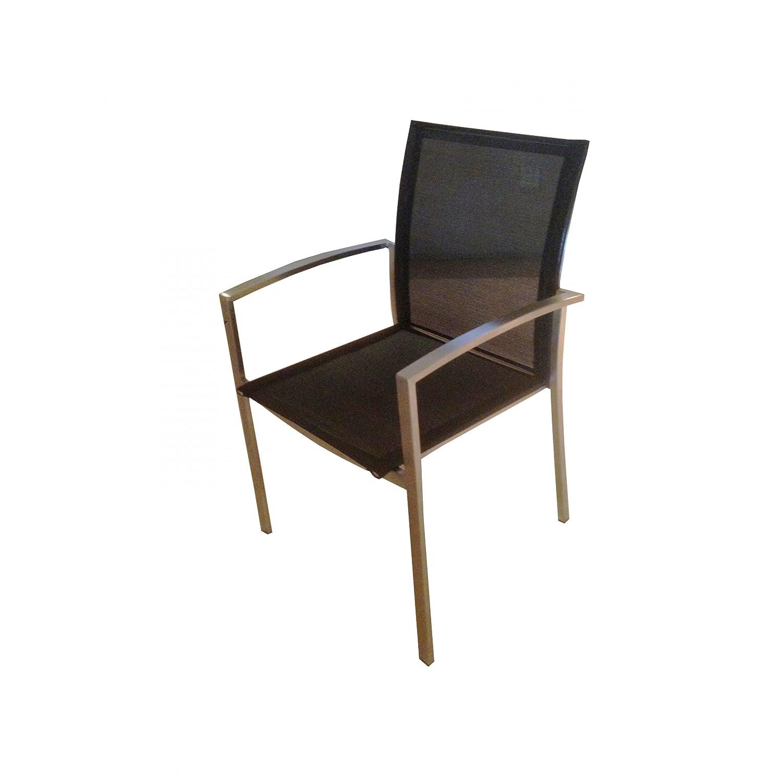 SIT Mobilia Gartenstuhl / Stapelsessel Rio Edelstahl in schwarz 30INX5-90 günstig online kaufen