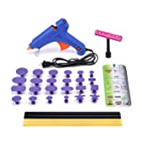 HOTPDR Dent Repair Dent Puller Kit Mini T-Bar Silde Hammer PDR Tabs Glue Gun and PDR Glue Sticks PDR Kit for Car Dent Repair (30 Pcs)