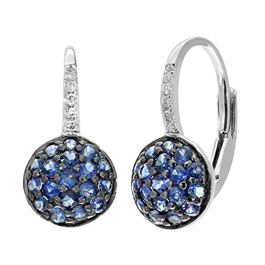 Naava 9 ct White Gold Diamond and 0.50ct Sapphire Round Hoop Earrings