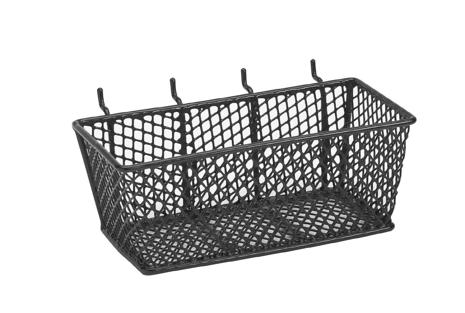 bulldog 131592 wire mesh basket with peg hooks black medium new free shipping ebay. Black Bedroom Furniture Sets. Home Design Ideas