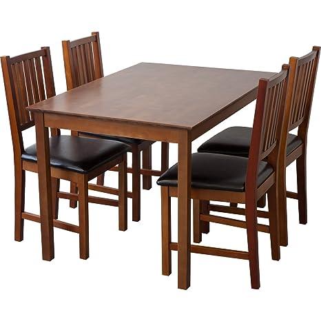 Tischgruppe LUCCA Tisch 120 x 80cm + 4 Stuhle birke massiv nussbaum gebeizt