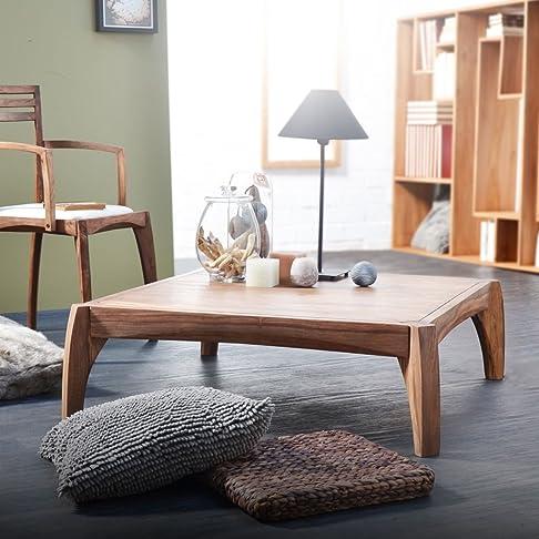 Tavolino a forma di legno Dekor quadrato, Sheesham naturale, 80x 80x 35cms