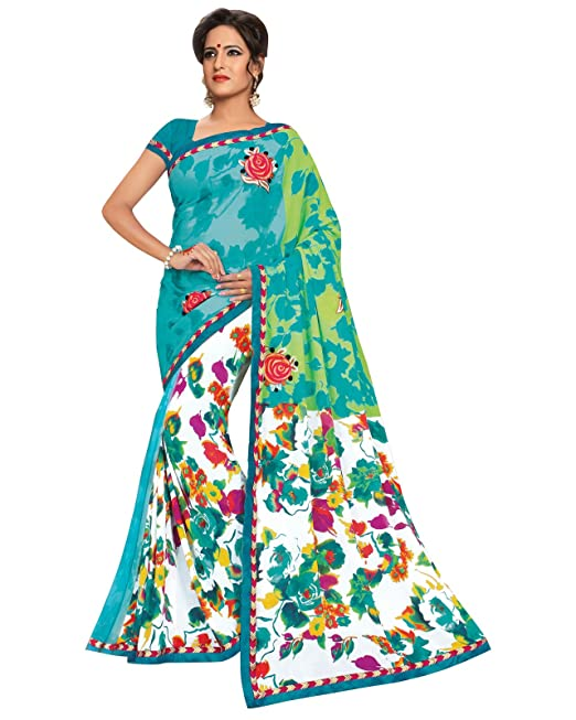 Prafful Sky Blue and White Georgette embroidered beautiful saree with unstitched blouse available at Amazon for Rs.999